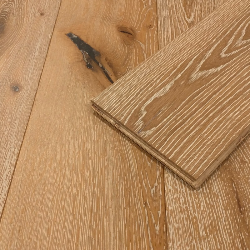 189mm Natural White Wash Oak Brushed Engineered T&G
