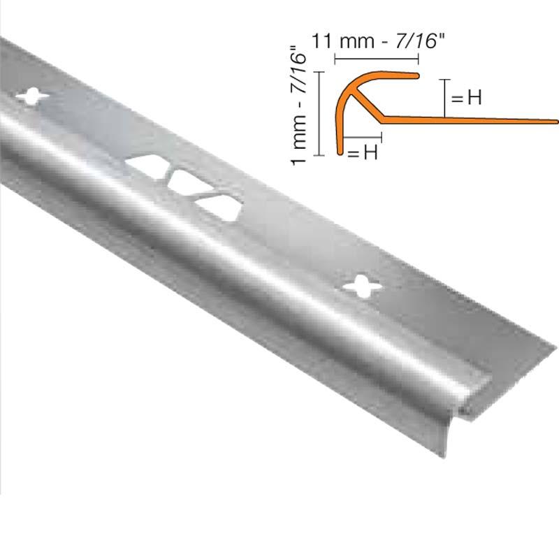 Vinpro 5mm Stair Nosing ROUND Brushed Nickle
